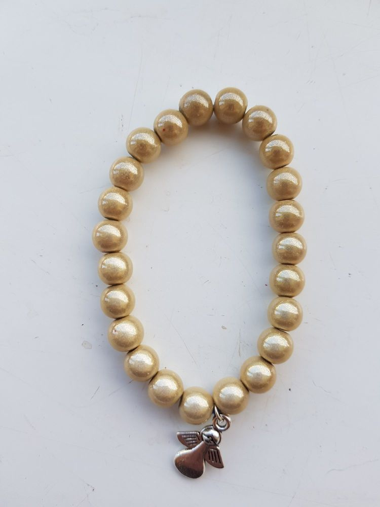 Adult Angel Glow / Miracle Bead Bracelet - 8mm Cream/Ivory