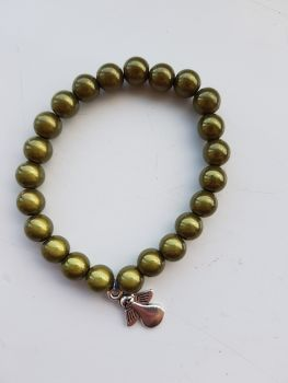 Adult Angel Glow / Miracle Bead Bracelet - 8mm Green (Olive)