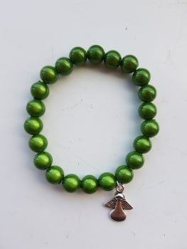 Adult Angel Glow / Miracle Bead Bracelet - 8mm Green
