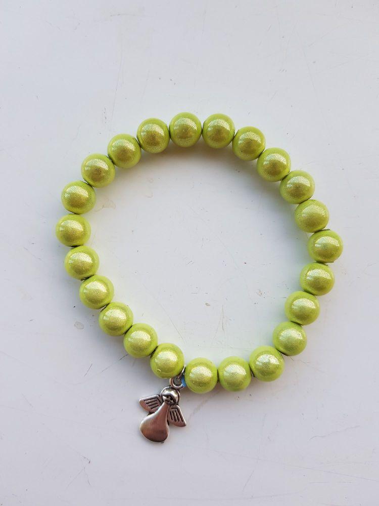 Adult Angel Glow / Miracle Bead Bracelet - 8mm Green (Paler)