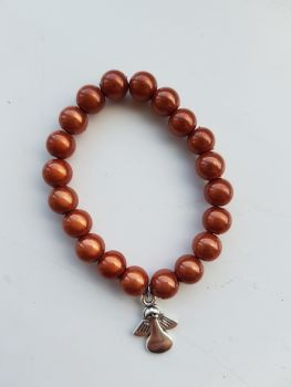 Adult Angel Glow / Miracle Bead Bracelet - 8mm Brown (Mid)