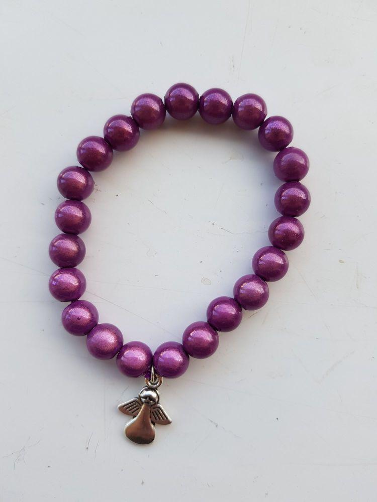 Adult Angel Glow / Miracle Bead Bracelet - 8mm Purple (Mid)
