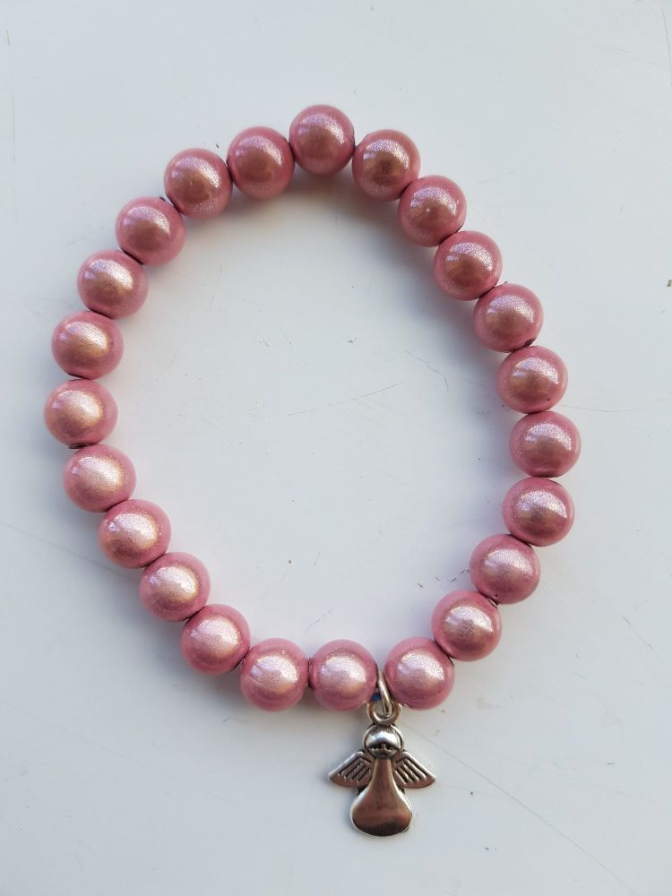 Adult Angel Glow / Miracle Bead Bracelet - 8mm Baby Pink