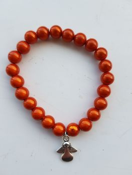 Adult Angel Glow / Miracle Bead Bracelet - 8mm Orange