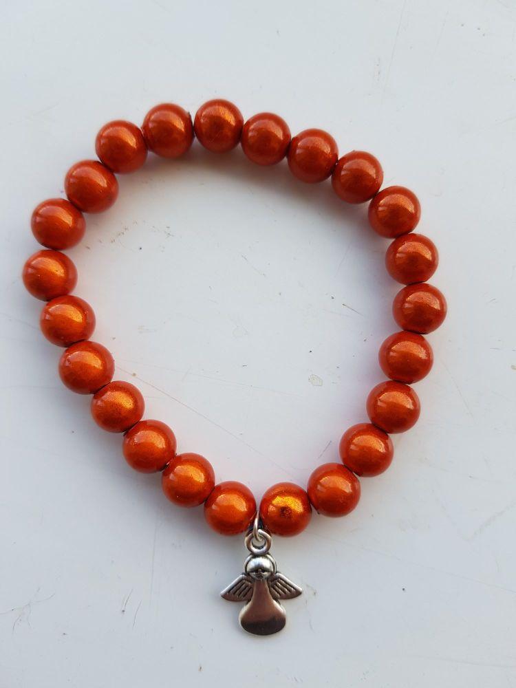 Adult Angel Glow / Miracle Bead Bracelet - 8mm Orange