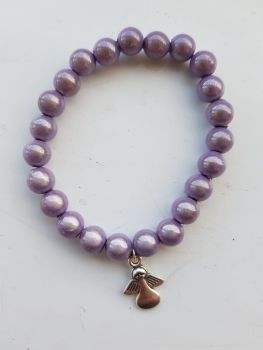 Adult Angel Glow / Miracle Bead Bracelet - 8mm Purple (Lilacy/Mauve)