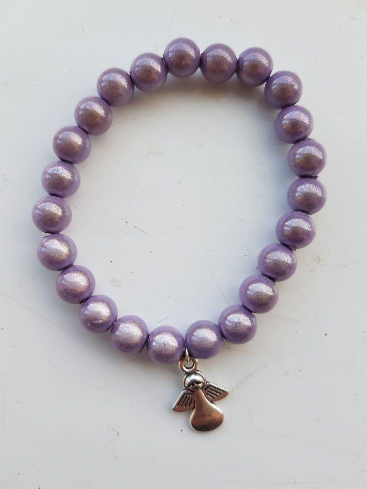 Adult Angel Glow / Miracle Bead Bracelet - 8mm Purple (Lighter)