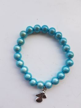 Adult Angel Glow / Miracle Bead Bracelet - 8mm Blue
