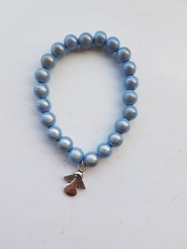 Adult Angel Glow / Miracle Bead Bracelet - 8mm Blue (Ice)