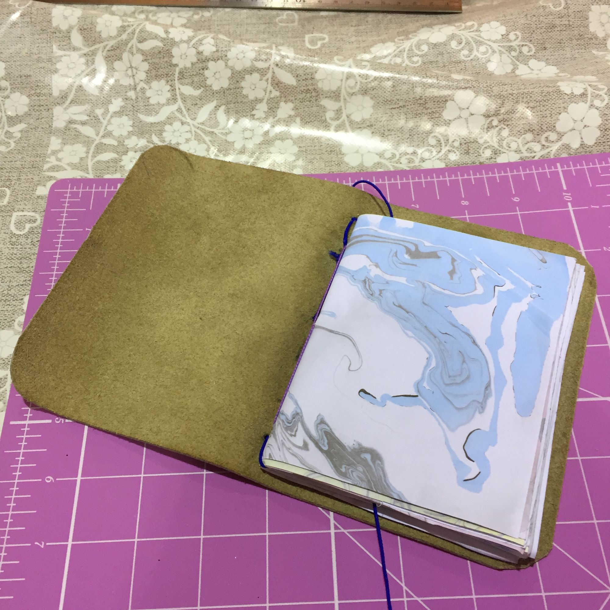 Japanese Marbling and Travellers Leather Journal Workshop - Stitching