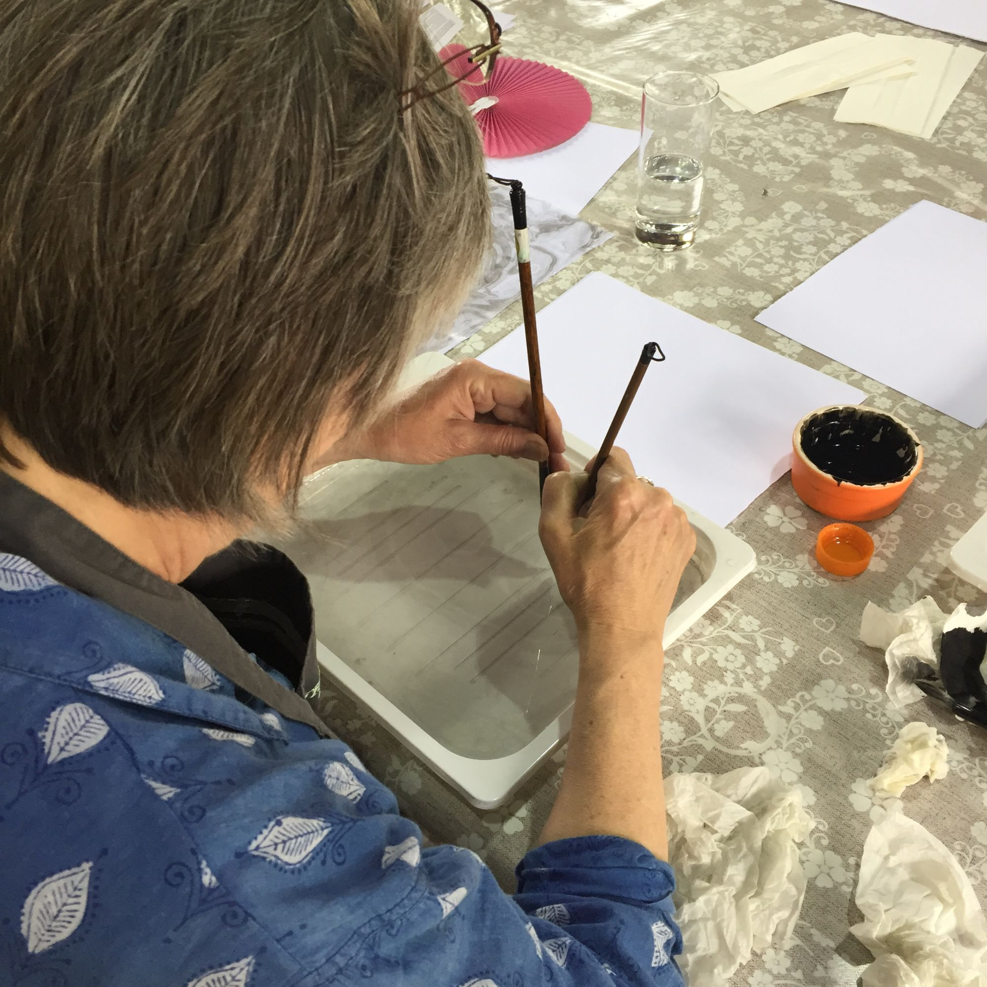 Japanese Marbling and Travellers Leather Journal Workshop - Marbling