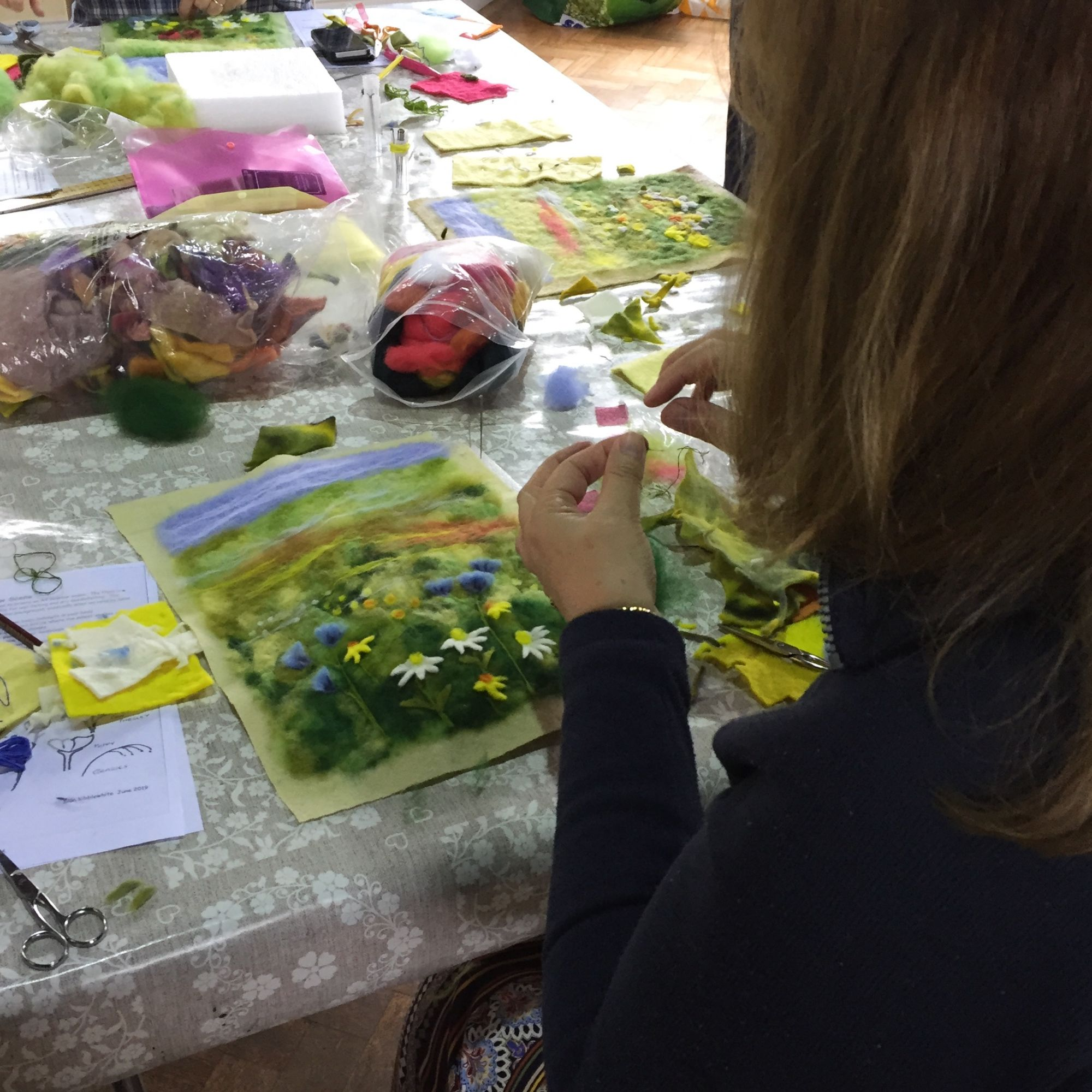 Picture Needle Felting Workshop - Sewing