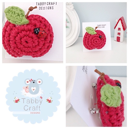 Apple Brooch with Ladybird - Red