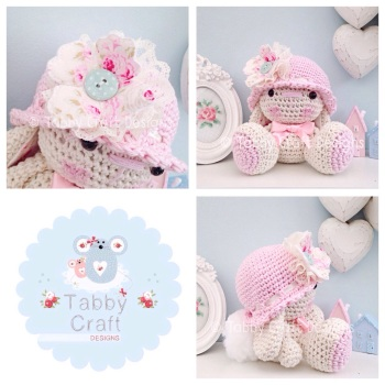 Bunny with Hat and Fabric Flower - Ivory, and Pink