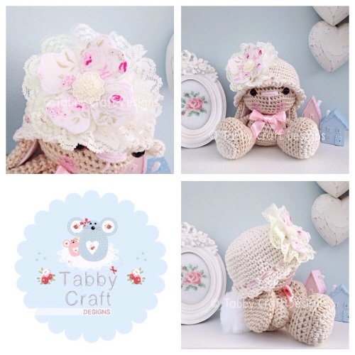 Bunny with Hat and Fabric Flower - Ivory, Pink and Beige