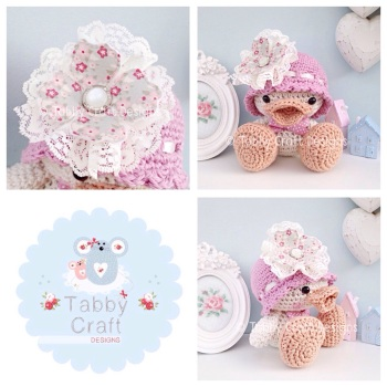Duckie with Hat and Large Flower - Ivory and Dusky Pink