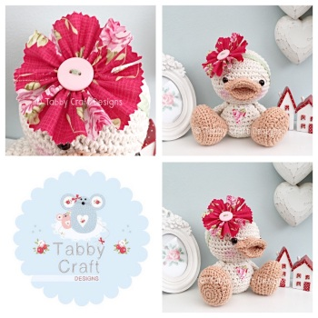Duckie with Large Flower Head Band - Ivory and Red Flotal