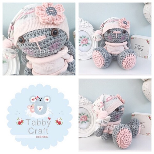Beanie Bunny in Jumper - Grey and Pink