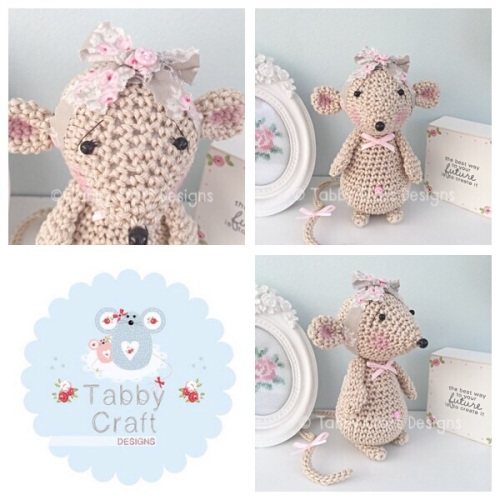 Standing Mouse with Bow - Beige and Pink