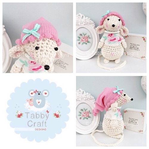 Standing Mouse with Beanie Hat and Scarf - Ivory and Pink