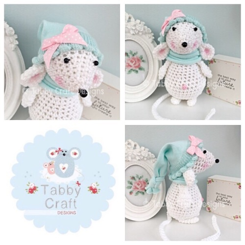 Standing Mouse with Beanie Hat and Scarf - White and Mint