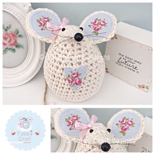 Medium Mouse - Ivory, Pink and Blue