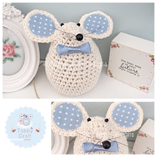 Large Mouse - Ivory and Blue
