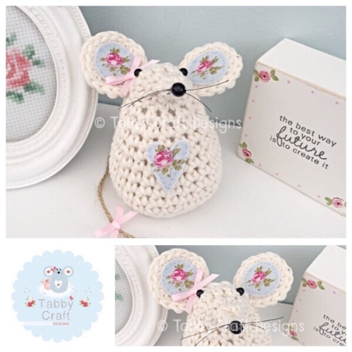 Small Mouse - Ivory, Pink and Blue