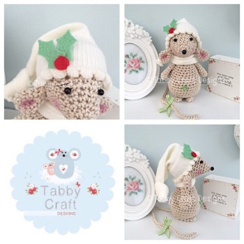 Christmas Holly Standing Mouse with Beanie Hat and Scarf -  Beige and Ivory