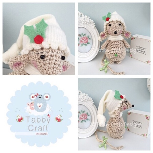 Christmas Holly Standing Mouse with Beanie Hat and Scarf - Grey and Mint