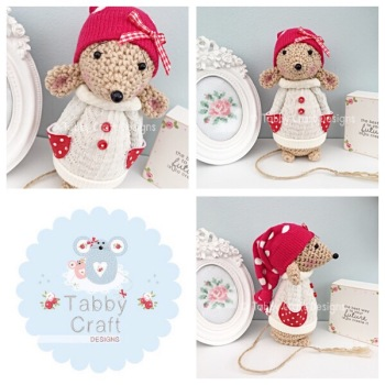 Winter Standing Mouse with Beanie Hat and Aran Jumper - Beige, Ivory and Red