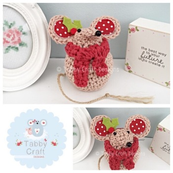 ***Made to Order*** Small Scarf Mouse - Beige and Red