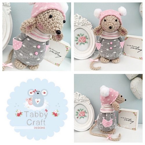 Winter Standing Mouse with Beanie Hat and Jumper - Grey, Ivory and Pink