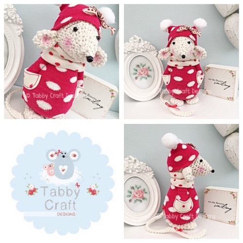 Winter Standing Mouse with Beanie Hat and Spotty Jumper - Ivory and Red