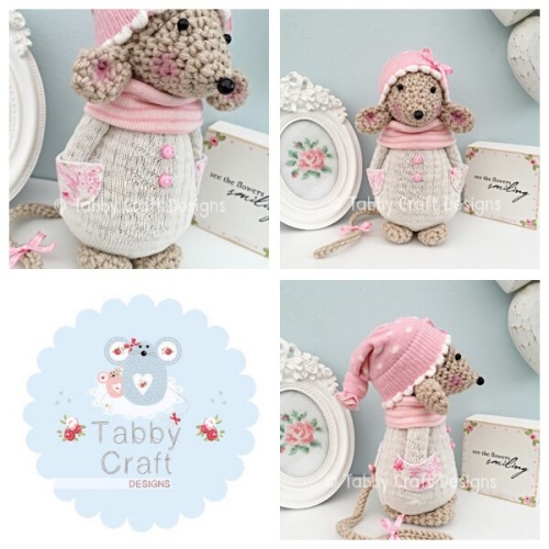 Winter Standing Mouse with Beanie Hat and Jumper - Beige, Ivory and Pink