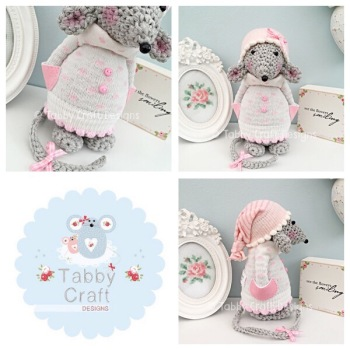 Winter Standing Mouse with Beanie Hat and Spotty Jumper - Grey, Ivory and Pink