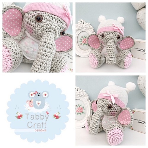 Elephant with Beanie Hat and Jumper  - Grey, Ivory and Pink