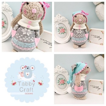 Winter Standing Bunny with Beanie Hat and Onesie - Beige, Grey and Pink