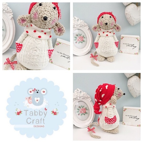 Winter Standing Mouse with Beanie Hat and Aran Onesie - Beige, Ivory and Re