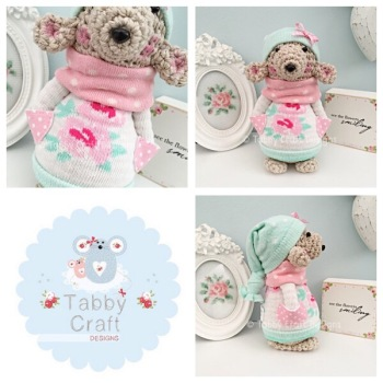 Winter Standing Teddy Bear with Beanie Hat and Jumper - Beige, Ivory, Mint and Pink
