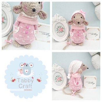 Winter Standing Mouse with Beanie Hat and Onesie - Beige, Ivory and Pink