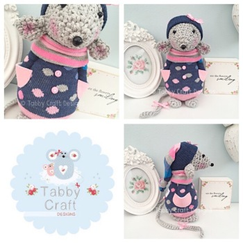 Winter Standing Mouse with Beanie Hat and Onesie - Grey, Navy and Pink
