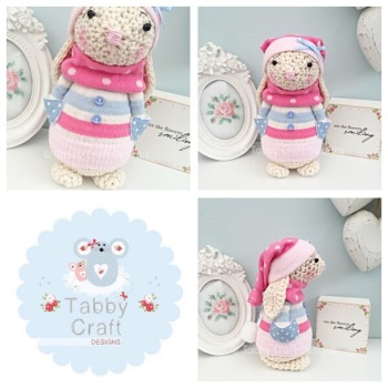 Winter Standing Bunny with Beanie Hat and Onesie - Ivory, Pink and Blue
