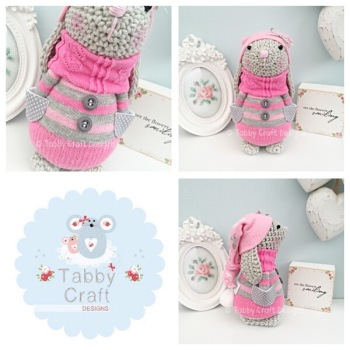 Winter Standing Bunny with Beanie Hat and Jumper - Grey and Pink