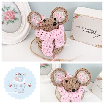***Made to Order*** Small Scarf Mouse - Brown and Pink