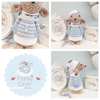Winter Standing Mouse with Beanie Hat and Jumper - Beige, Ivory and Blue