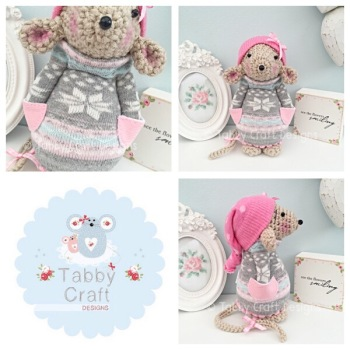 Winter Standing Mouse with Beanie Hat and Jumper - Beige, Grey and Pink
