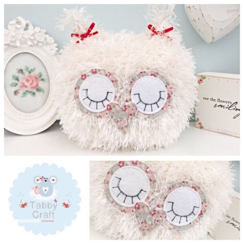Fluffy Sleeping Baby Owlet - Ivory, Grey and Red