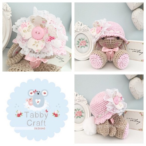 Bunny with Hat and Floral Fabric Flower - Beige and Pink