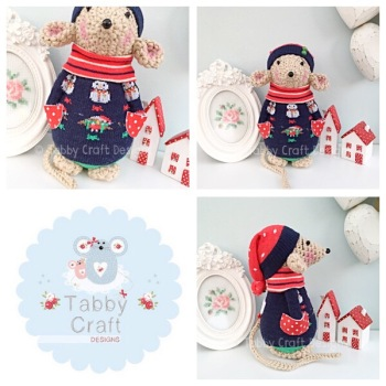 Winter Standing Mouse with Beanie Hat and Snowman Onesie - Beige, Navy and Red